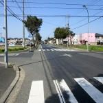 「南安長」と「緑ヶ丘」を分けている道路